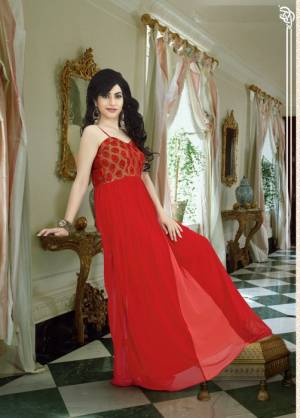 Get Ready For The Next Party At Your Place With This Pretty And Attractive Red Colored Gown Fabricated On Georgette. This Trendy Gown Will Make You Earn Lots Of Compliments At the Next Party You Attend Wearing This Gown.