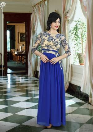Celebrate This Festive Season With Beauty And Comfort With this Royal Blue Colored Gown. This Pretty gown Is Fabricated On Georgette With Yoke Beautiful Yoke Pattern. Buy This Pretty Gown Now.