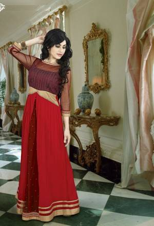 Enhance Your Trendy Ethnic Look With This Brown And Red Colored Gown. This Gown Will Give You An Indo-Western Look. Pair This Up With Golden Colored Delicate Earrings and Complete The Look. Buy Now.