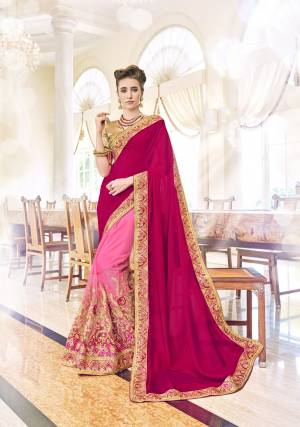 You Will Definitely Steal The Show, Wearing This Pink Colored Saree. Made From Chinon, This Saree Will Stay Very Soft Against Your Skin. Featuring An Attractive Embroidery , Zari Border And Fancy Pattern, This Saree Can Be Worn With Matching Accessories For A Beautiful Look. Wear It Now