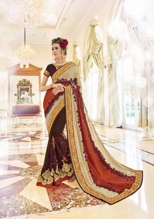 Grab This Brown And Multi Colored Designer Saree For Any Functions, Parties Or Occasions. This Dynamic Saree Is Decorated On Georgette And Is Hooked Up With Brown Colored Banglori Silk Blouse. Grab It Now Before It's Too Late