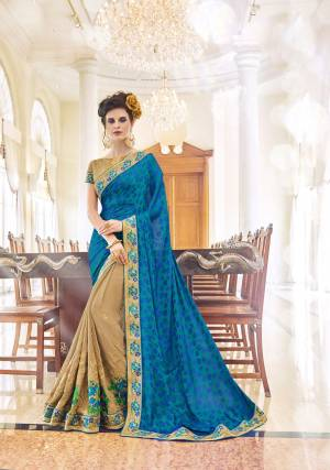 Wear This Amazing Dark Beige And Teal Blue Coloured Saree  at an upcoming special occasion and let all eyes follow you. This Gorgeous saree features an elegantly designed border and comes with Banglori SIlk Blouse Made from Georgette Saree. It will complement gold jewellery and heels.