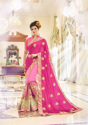 Grab This Pink Colored Designer Saree For Any Functions, Parties Or Occasions. This Dynamic Saree Is Decorated On Georgette And Is Hooked Up With Pink Colored Banglori Silk Blouse. Grab It Now Before It's Too Late
