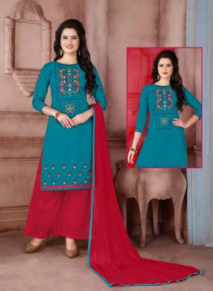 Look Pretty With This Dress Material In Blue Color Paired With Contrasting Red Colored Bottom And Dupatta. Its Top Is Fabricated On Cambric Cotton Paired With Cotton Bottom And Chiffon Dupatta. Get This Stitched As Per Your Daily Wear Comfort. Buy Now.
