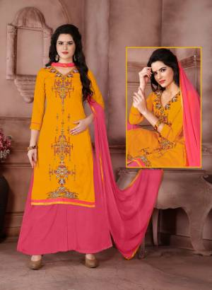 Yellow Color Induces Perfect Summery Appeal To Any Attire, So Grab This Dress Material With Yellow Colored Top Paired With Contrasting Pink Colored Bottom And Dupatta. Its Top Is Fabricated On Cambric Cotton Paired With Cotton Bottom And Chiffon Dupatta. This Suit Is Light Weight And Easy To Carry All Day Long.