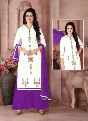 Simple And Elegant Looking Dress Material Is Here With This White Colored Top Paired With Purple Colored Bottom And Dupatta. Its Top Is Fabricated On Cambric Cotton Paired With Cotton Bottom And Chiffon Dupatta. Bu It Now.
