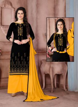 Enhance Your Beauty Wearing This Black Colored Straight Suit Paired With Yellow Colored Bottom And Dupatta. Its Top Is Fabricated On Cambric Cotton Paired With Cotton Bottom And Chiffon Dupatta. Get This Stitched As Per Your Desired Fit And Comfort. Buy Now.