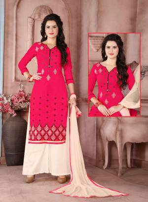 Bright And Visually Appealing Suit Is Here With This Dark Pink Colored Top Paired With Cream Colored Bottom And Dupatta. Its Top Is Fabricated On Cambric Cotton Paired With Cotton Bottom And Chiffon Dupatta. Get This Stitched As Per Your Desired Fit And Comfort. Buy Now.