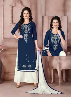 You Will Definitely Earn Lots Of Compliments From Onlookers Wearing This Blue Colored Dress Material Paired With White Colored Bottom And Dupatta. Its Top Is Fabricated On Cambric Cotton Paired With Cotton Bottom And Chiffon Dupatta. This Suit Ensures Superb Comfort All Day Long.