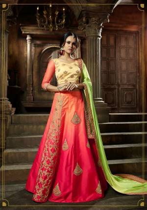 Colors Add Beauty To Every Attire You Wear, So Grab This Designer Colorful Lehenga Choli In Light Yellow Colored Blouse Paired With Pink Colored Lehenga And Light Green Colored Dupatta. Its Blouse Is Fabricated On Art Silk Paired With Satin Silk Lehenga And Satin Dupatta. Its Beautiful Embroidered Patch Work Will Earn You Lots Of Compliments From Onlookers.