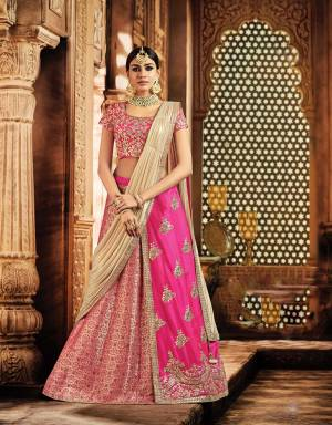 Turn into a stunning showstopper in your next celebratory soiree and flaunt this vivacious pink lehenga looking nothing less than a diva.