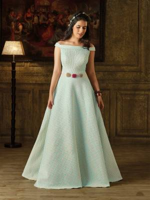 Look Like A Princess Wearing This Designer Floor Length Gown In Pastel Blue Color With Off Shoulder Pattern. This Pretty Gown Is Made On Imported Fabric. It Is Light Weight And Easy To Carry And Also Durable.
