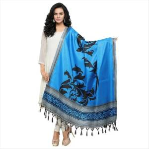 Simple And Elegant Looking Dupatta Is Here In Blue Color Fabricated On Cotton Art Silk Beautified With Bold Printed Motif. It Can Be Paired With Blue, Black Or White Colored Suit.