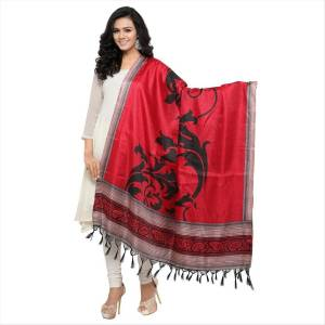 Simple And Elegant Looking Dupatta Is Here In Red Color Fabricated On Cotton Art Silk Beautified With Bold Printed Motif. It Can Be Paired With Red, Black Or White Colored Suit.