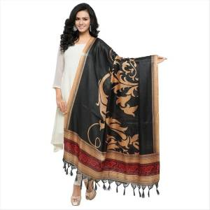 Simple And Elegant Looking Dupatta Is Here In Black Color Fabricated On Cotton Art Silk Beautified With Bold Printed Motif. It Can Be Paired With Beige, Black Or White Colored Suit.