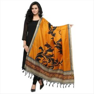 Simple And Elegant Looking Dupatta Is Here In Musturd Yellow Color Fabricated On Cotton Art Silk Beautified With Bold Printed Motif. It Can Be Paired With Yellow, Black Or White Colored Suit.