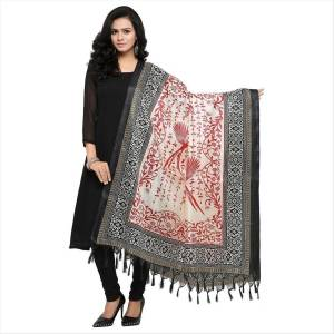 Grab This White And Black Colored Dupatta Which Can Be Paired With Any Colored Suit, This Dupatta Is Fabricated On Cotton Art Silk Beautified With Prints All Over.