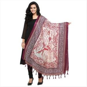 New And Unique Shade Is Here In Dupatta With This Pretty Dupatta In White And Wine Color. This Dupatta Is Fabricated On Cotton Art Silk Beautified With prints. Pair It Up With White Or Wine Color For A Beautiful Look.