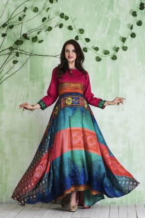 Look Colorful And Attractive With This Lovely Readymade Floor Length Gown In Pink And Blue Color Fabricated On Tussar Art Silk Beautified With Multiple Prints All Over It. Buy This Saree Now.