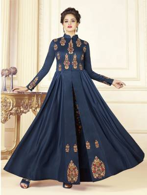 Enhance Your Personality Wearing This Designer Readymade Indo-Western Dress In Dark Blue Color Fabricated On Cotton Blend Paired With Art Silk Fabricated Pants. Its Prnted Pants And Embroidered Yoke Is Making The Dress Attractive.