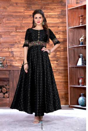 Adorn A Bold And Beautiful Look Wearing This Designer Floor Length Readymade Gown In Black Color Beautified With Jari And Multi Colored Thread Work. This Gown Ensures Superb Comfort All Day Long.