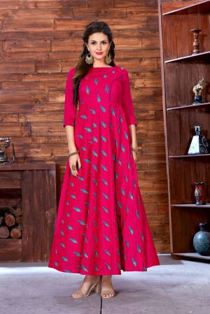 Shine Bright Wearung This Beautiful Designer Readymade Gown In Dark Pink Color Fabricated On Art Silk Beautified With Resham Embroidered Motifs All Over It.