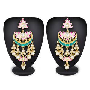 Give Heavy Ethnic Look To Your Perosonality Pairing Your Ethnic Attire With This Pretty Pair Of Earring In Golden Color Beautified With Stone Work. This Pretty Pair Can Be Paired With Any Contrasting Or Same Colored Attire.