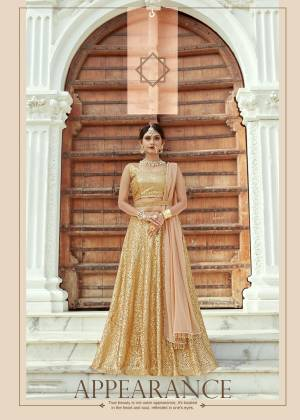 Featuring a beige and gold flared lehenga skirt crafted in net with sequin embellishment. It comes with a matching sleeveless bow style back blouse with sequin embellishment all ove. It comes along with georgette base beige dupatta with hangs on both the sides.