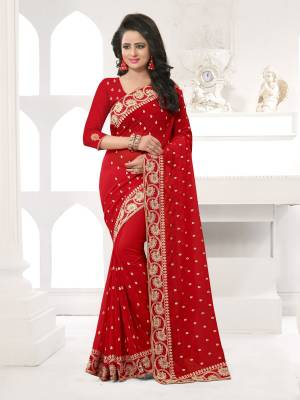 Featuring An Eye Catching design with This Beautiful Designer Saree In Red Color Paired With Red Colored Blouse. This Saree And Blouse are Fabricated On Georgette Beautified With Attractive Embroidery. This Pretty Design Is Available In Many Colors.