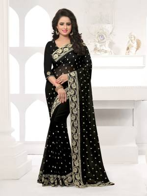 Featuring An Eye Catching design with This Beautiful Designer Saree In Black Color Paired With Black Colored Blouse. This Saree And Blouse are Fabricated On Georgette Beautified With Attractive Embroidery. This Pretty Design Is Available In Many Colors.