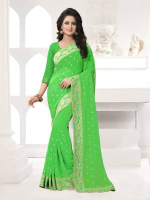 Featuring An Eye Catching design with This Beautiful Designer Saree In Light Green Color Paired With Light Green Colored Blouse. This Saree And Blouse are Fabricated On Georgette Beautified With Attractive Embroidery. This Pretty Design Is Available In Many Colors.