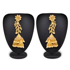 You Will Definitely Earn Lots Of Compliments For This Beautiful Designer Pair Of Earrings. This Earrings Are In Golden Color Beautified With Moti And Stone Work. Buy Now.