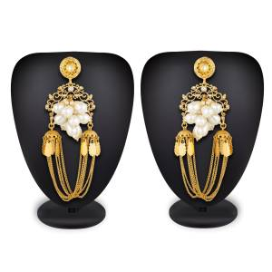Another Lovely Designer Earrings Are Here In Golden Color With Multiple Chain Pattern And Beautified With Pearl Work.
