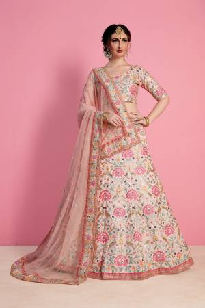 Pastel Is Always Everyones Choice For any Occasion, Grab This Very Pretty Heavy Designer Lehenga Choli In Pastel Pink Pink Color Paired With Pastel Pink Colored Dupatta. Its Blouse And Lehenga Are Fabricated On Art Silk Paired With Net Fabricated Dupatta. Buy This Designer Lehenga Choli Now.