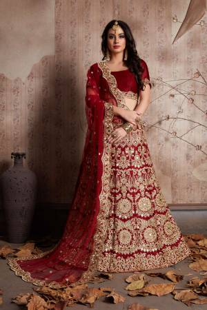 Maroon velvet lengha choli with zari embroidery and mirror work all over. It is paired with a maroon net cutwork dupatta with mirror work.