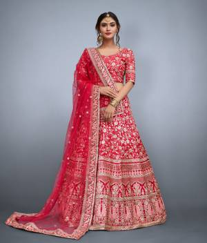 This set features Dark pink floral resham work with sequins embellished on art silk base. It comes along with matching Dark pink blouse and sequins embellished on it. It is paired with soft net butti work in sequins and heavy lace work on it.