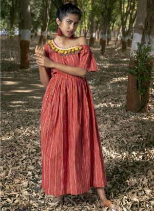 One side off-shoulder drop with adjustable elastic and laces?for embellishment on  neck enhances the dress. khadi is a fabric that will keep you cool in summers and warm in winters.  So this dress suits to wear