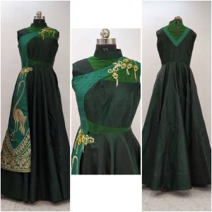 Dark Color Gives An Attractive And Fresh Look Everytime You Wear The Attire, Add This Pine Green Colored Readymade Designer Gown To Your Wardrobe Fabricated On Velevt Satin And Art Silk Beautified with Hand Work. It Also Ensures Superb Comfort all Day Long.