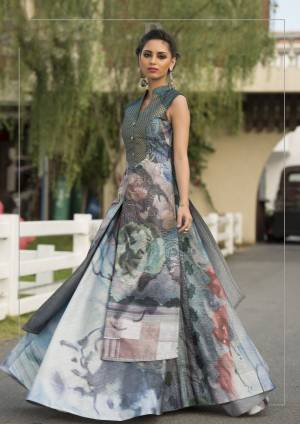 Add This Pretty Readymade Grey Colored Gown Fabricated On Art Silk Beautified With Digital Prints All Over It. This This Pretty Gown Is Easy To carry All Day Long.