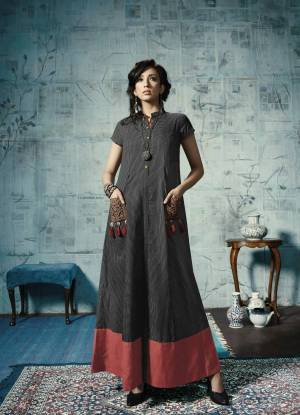 For A Bold and Beautiful Look, Grab This Designer Readymade Gown In Black Color Fabricated On Cotton And Chanderi. It IS Available In All Sizes And Ensures Superb Comfort All Day Long.