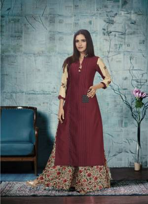 Add This Beautiful Pair To Your Wardrobe In Maroon Colored Top Paired With Cream Colored Plazzo. This Kurti Is Cotton Chanderi Based Fabric Paired With Cream Colored Tussar Silk Printed Plazzo.