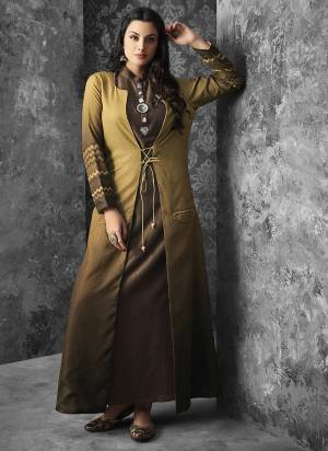 Enhance Your Personality Wearing This Readymade Pair Of Kurti With Jacket In Brown Color Paired With Beige And Brown Jacket. Its Inner Is Muslin Fabricated Paired With Linen Jacket. Buy Now.