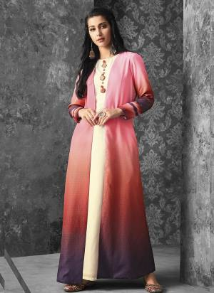 Look Pretty Wearing This Lovely Pair Of Kurti With Jacket, Its Inner Is In White Color Muslin Fabricated Paired With Pink And Purple Colored Jacket Fabricated On Linen. Buy This Kurti Now.