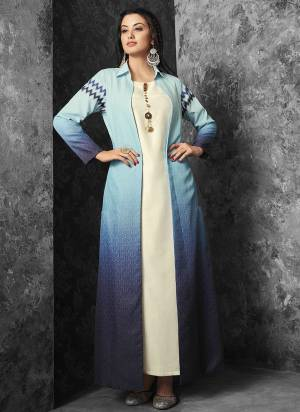 Multiple Shades In Blue Are Used In This Lovely Jacket Paired With White Colored Inner. Its Inner Is Fabricated On Muslin Paired With Linen Fabricated Jacket. Its Is Available In all Regular Sizes.
