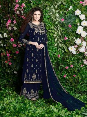 Celebrate This Festive Season With And Comfort With This Plazzo Suit In Navy Blue Color Paired With Navy Blue Colored Dupatta. Its Top And Bottom Are Georgette Based Paired With Chiffon Dupatta. It Is Beautified With Jari Embroidery And Stone Work.