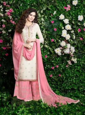 Look Pretty Wearing This Designer Plazzo Suit In White Colored Top Paired With Pink Colored Bottom And Dupatta. Its Top And Bottom Are Georgette Based Paired With Chiffon Dupatta. Buy This Suit Now.