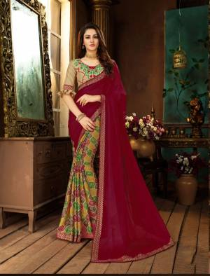 Bright Colors Gives An Attractive And Beautiful Look To Your Personality, So grab This Saree In Dark Pink And Multi Color Paired With Beige Colored Blouse. This Saree Is Fabricated On Georgette Paired With Art Silk Fabricated Blouse.