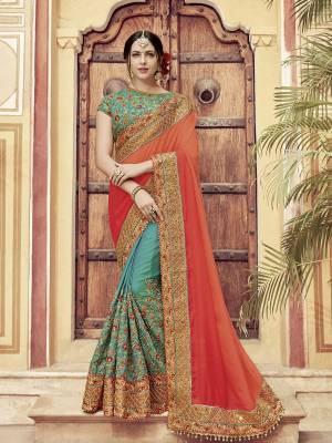 Presenting this orange and green color two tone shaded silk fabrics and two tone satin saree. Ideal for party, festive & social gatherings. this gorgeous saree featuring a beautiful mix of designs. Its attractive color and heavy designer embroidered saree, moti design, also heavy designer blouse, half half design saree, beautiful floral design all over work over the attire & contrast hemline adds to the look. Comes along with a contrast unstitched blouse.