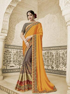 Flaunt a new ethnic look wearing this orange and grey color two tone silk fabrics and two tone silk satin saree. Ideal for party, festive & social gatherings. this gorgeous saree featuring a beautiful mix of designs. Its attractive color and heavy designer embroidered saree, moti design, also heavy designer blouse, cut paste design saree, beautiful floral design all over work over the attire & contrast hemline adds to the look. Comes along with a contrast unstitched blouse.