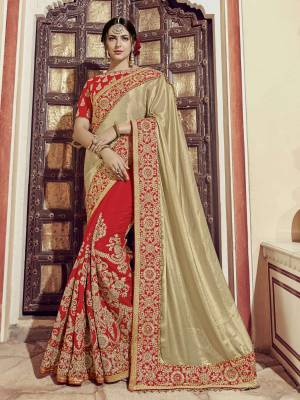 Impress everyone with your amazing Trendy look by draping this Golden and red color glitter lycra saree. this party wear saree won't fail to impress everyone around you. this gorgeous saree featuring a beautiful mix of designs. Its attractive color and heavy designer embroidered saree, moti design, also heavy designer blouse, half half design saree, beautiful floral design all over work over the attire & contrast hemline adds to the look. Comes along with a contrast unstitched blouse.